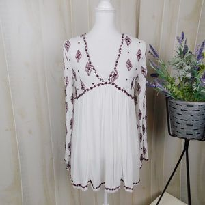 Free People White Embroidered Tunic Blouse